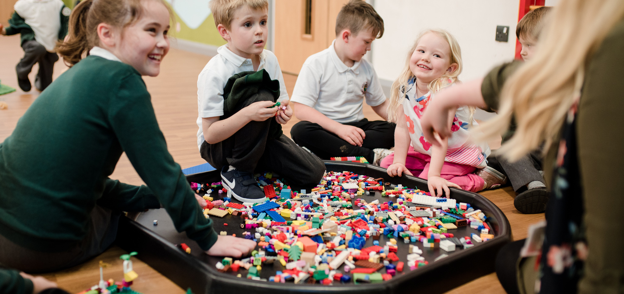 Children playing with lego in after school club