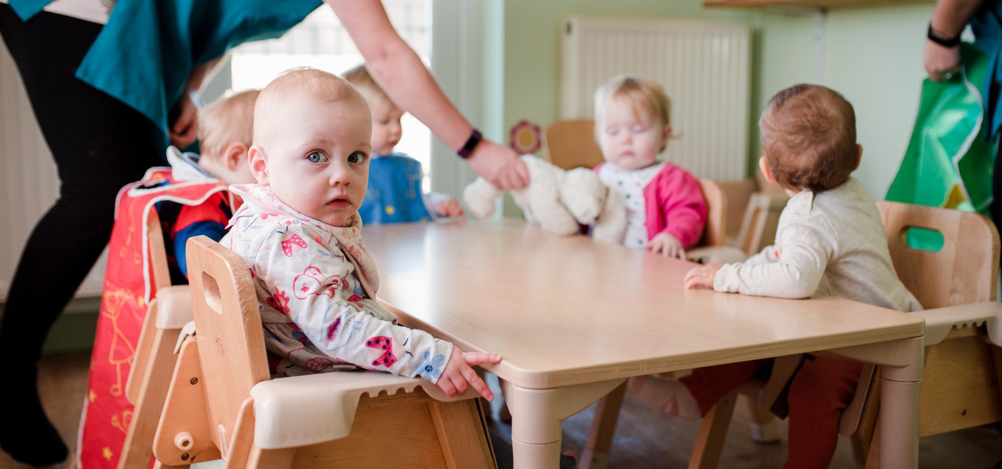 Toddlers preparing for food