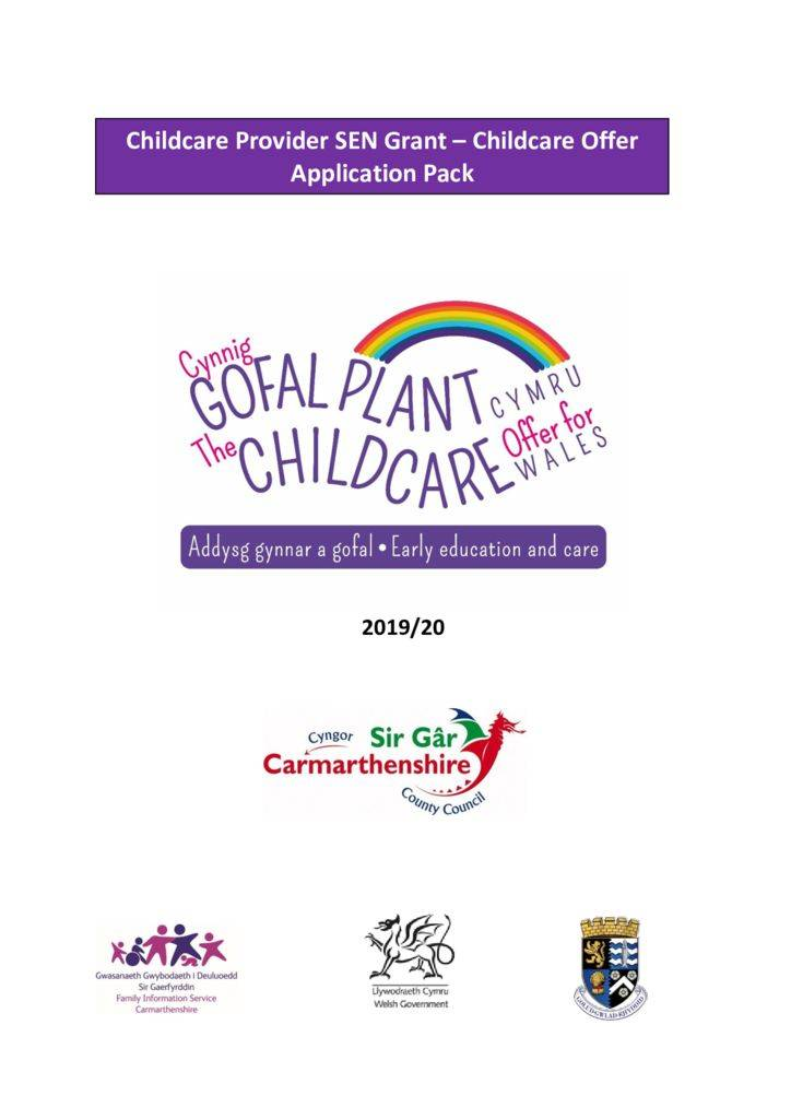 thumbnail of Carmarthenshire Provider SEN Grant Application Pack 19-20