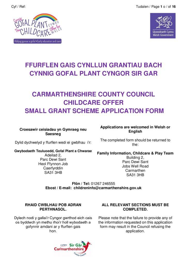 thumbnail of FINAL Small Grant Scheme Application Carmarthenshire
