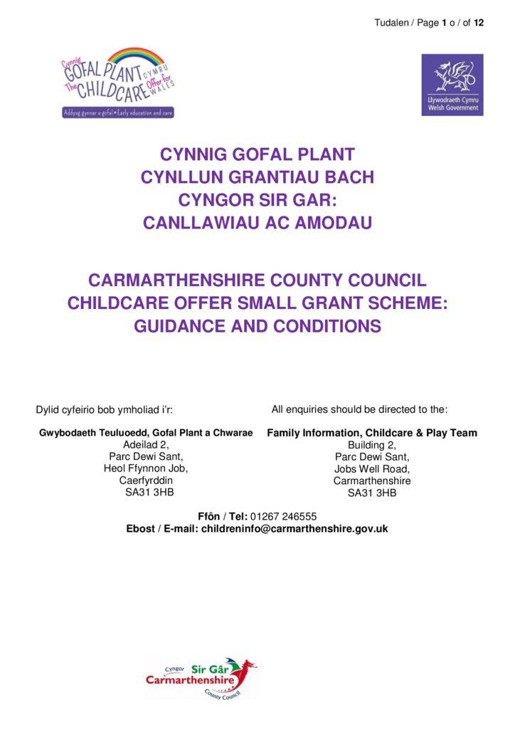 thumbnail of FINAL Small Grant Scheme Guidance 28.05.2019 Carmarthenshire
