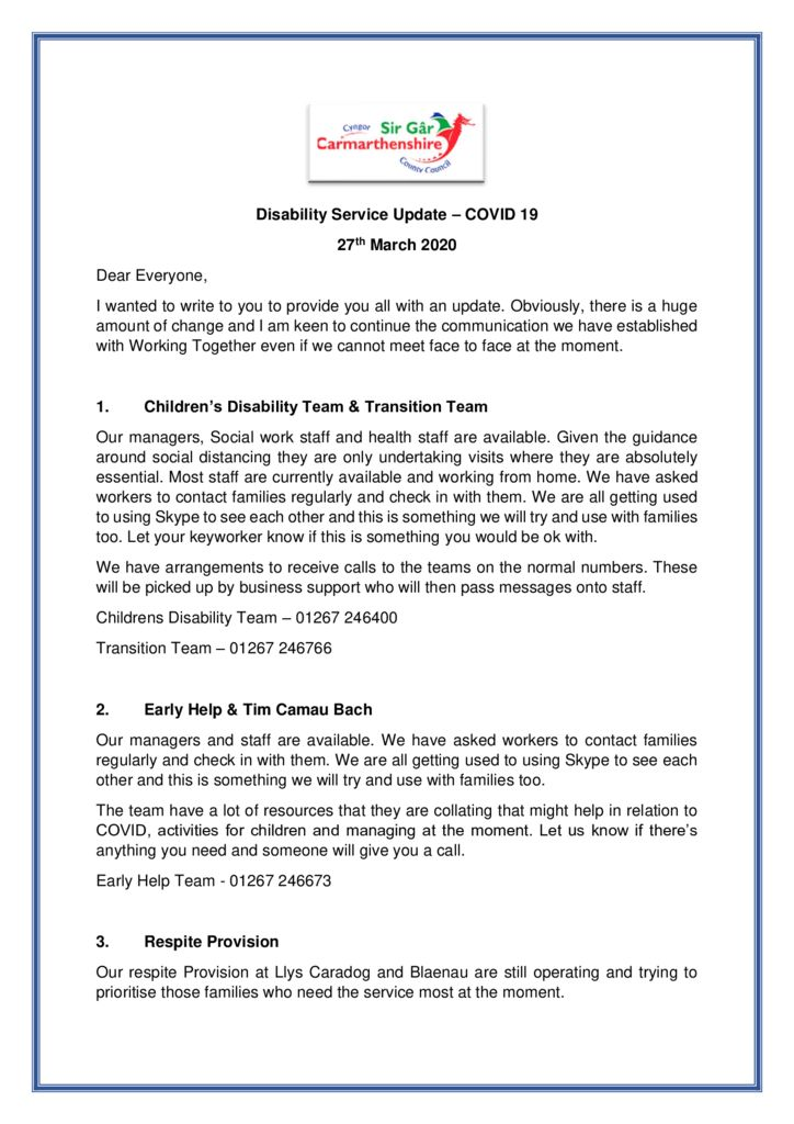 thumbnail of Disability Service Update 27th March 2020 v2