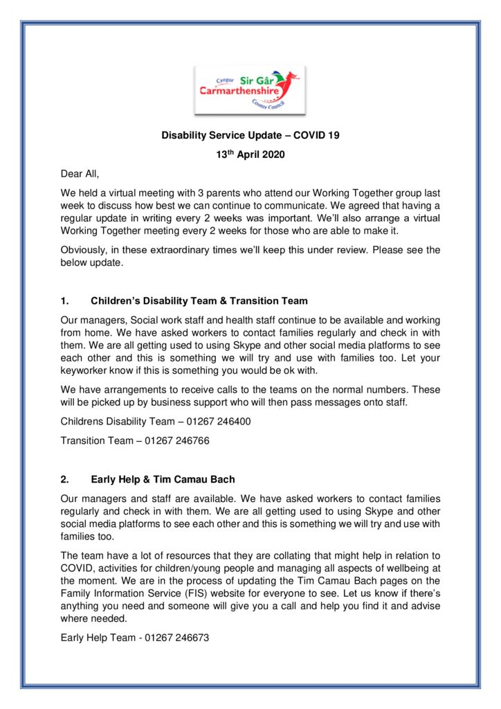 thumbnail of Disability Service Update 13th April 2020.docx