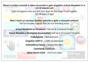 thumbnail of Llinellau Cymorth ar gyfer disgyblion CA3 a 4 CORRECT 22.5.20 – Cynllun Ysgolion Iach