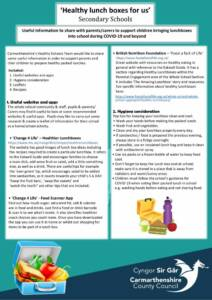 thumbnail of Guidance to parents carers regarding Healthy Packed Lunches – Secondary Schools ENGLISH website